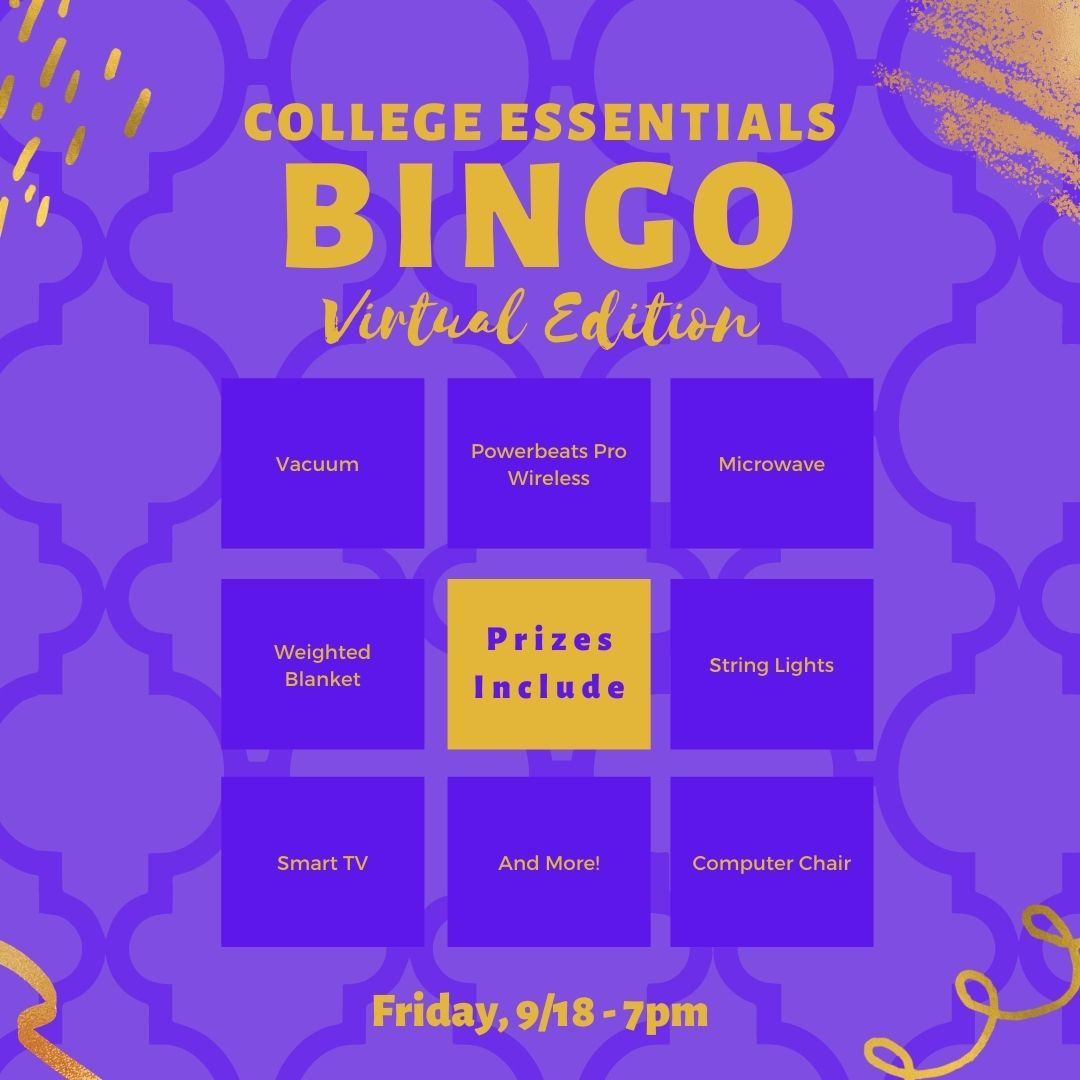 College Essentials Bingo This Friday, 9/18 at 7pm