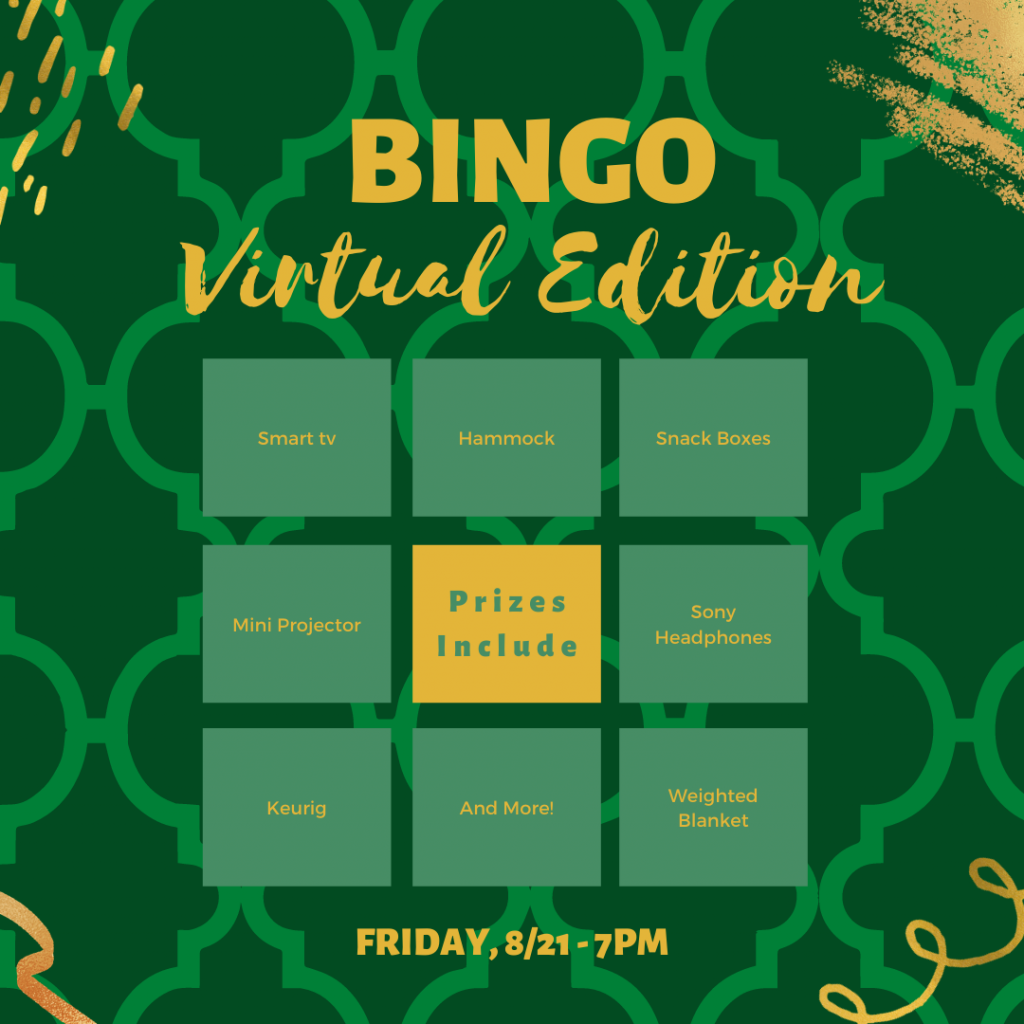 Bingo flyer with green and gold Bingo board listing same information as in text of email.