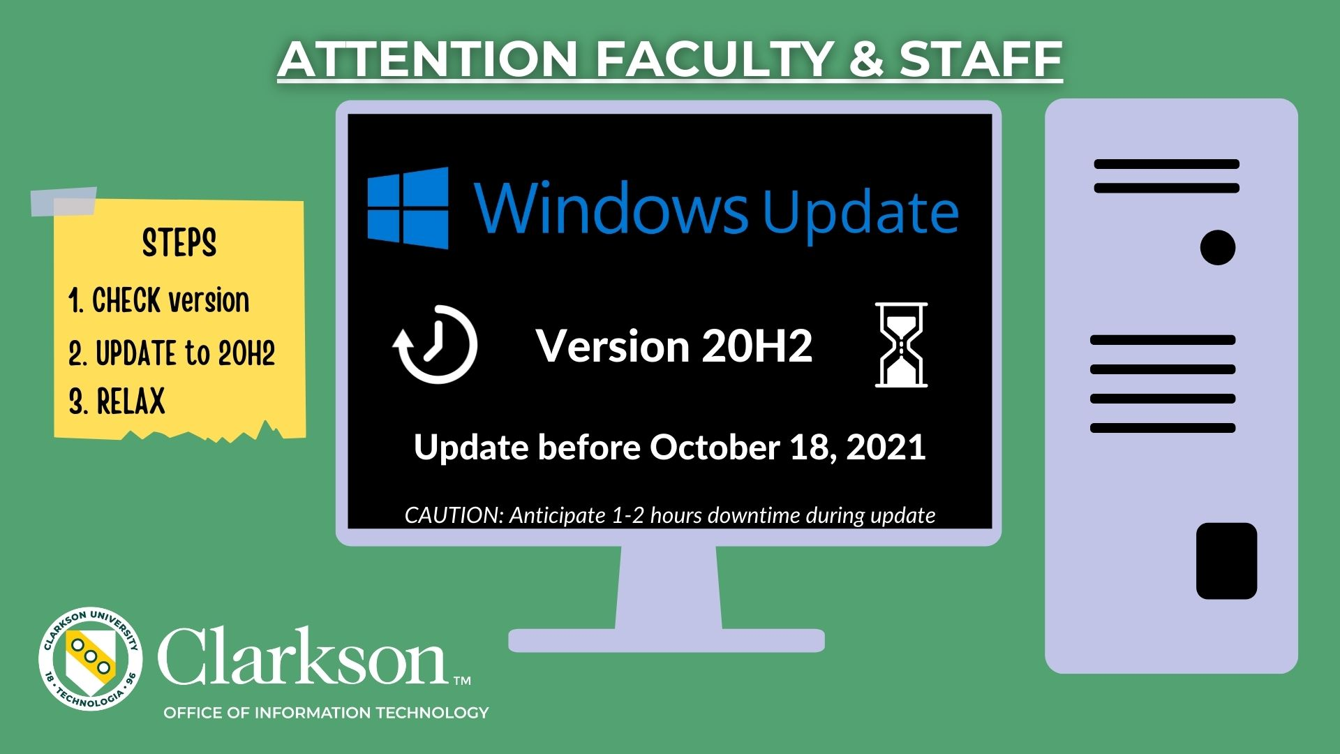 Faculty and Staff: Urged to Update Windows Devices